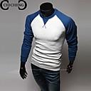 chicheng®メンズファッションソリッドカラーのモザイク長袖Tシャツ