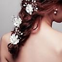 成人用 フラワーガール クリスタル 合金 人造真珠 ファブリック かぶと-結婚式 パーティー ヘアピン 3個