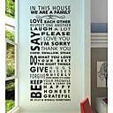 壁のステッカー壁のステッカー、現代の家のルール引用PVCウォールステッカー。