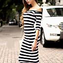 Ženska sexy / bodycon / povremeni / stranka mikro-elastična rukava do koljena haljina (pamuk mješavine)