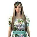 Žene cosplay duge ravne strana bang strane perika svijetlo smeđe zelene mixcolor s besplatnim kose net