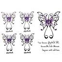 2ks Yimei tetování samolepky vodotěsný řady živočišných ženy / dívka / pánské / dospělý / kluk / dospívající černá fialová motýl 17cm * 16cm