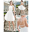 A-line/Princess Plus Sizes Wedding Dress - Ivory Knee-length Halter Chiffon