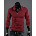 MEN Tシャツ ( コットンブレンド ) カジュアル ワイシャツカラー - 長袖