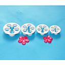 4-Cプラスチックデイジーケーキカッター、フォンダンsugarcraft、ケーキのデコレーションツールがセット