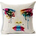 moderní styl namalované tváře vzorované bavlna / len dekorativní polštář kryt