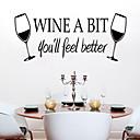 samolepky na zeď na stěnu, styl nové víno pohár PVC Wall Stickers