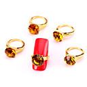 Nová móda 10ks žluté nail art tipy šperky malíček na nehty ring slitina drahokamu tipy aryclic nehty dekorace