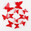 zaštite okoliša 3d leptir zidne naljepnice 12pcs / set crvena
