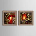 olejomalba moderní abstraktní ručně malované přírodní prádlo s roztažený zarámovaný - sada 2