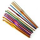 12 ks barevné hliníkové háčky pletací 2 mm, 8mm