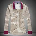 男性用 プリント / プレイン カジュアル / オフィス / フォーマル / プラスサイズ シャツ,長袖 コットン ホワイト