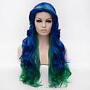 Evropa prodávat vícebarevný melír dlouhé vlasy paruku cosplay paruka strana paruka Halloween paruka