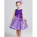 Princeza Do koljena Haljina za djevojčicu s cvijećem - Pamuk / Til Bez rukava Ovalni izrez s