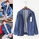 Women's Shirt Collar Coats & Jackets , Cotton Blend/Denim Casual Long Sleeve SKY