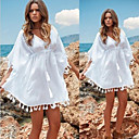 Women's V-Neck Tassel Dresses , Cotton Beach/Casual/Print ½ Length Sleeve Zhuoxini