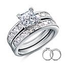Snubní prsteny Stříbro Zirkon Peří Square Shape Elegantní Šperky Svatební Párty Denní Ležérní 2pcs