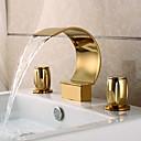 現代風 組み合わせ式 滝状吐水タイプ with  真鍮バルブ 二つのハンドル三穴 for  Ti-PVD , バスルームのシンクの蛇口