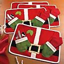 ダブル赤いクリスマスの製品テーブルマットサンタがマットを食べます