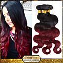 1 pcs / lot ombre brazilian perawan gelombang ekstensi rambut tubuh two tone 1b / 99j burgundy anggur merah 6a menenun rambut manusia