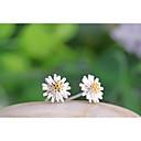 Sitne naušnice Plastika Flower Shape Tratinčica Obala Bijela Jewelry Za Vjenčanje Party Dnevno 2pcs