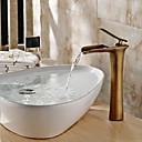 滝状吐水タイプ バスルームのシンクの蛇口 伝統風 アンティークブロンズ 真鍮