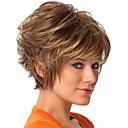 Nový přírůstek blond krátké kudrnaté syntetické vlasy, paruky