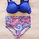 Ženski Bikini - Grudnjak na vezanje - Push-up / Podstavljeni grudnjak / Grudnjak sa žicom - Visokog struka / S naborima / Jednobojni -