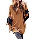 Majica s rukavima Ženski,Jednostavno / Ulični šik Ležerno/za svaki dan Color block-Dugih rukava U izrez-Sva godišnja doba Smeđa Srednje