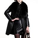 Krzneni kaput Žene,Vintage / Punk & Gotika Plus veličine / Izlasci Jednobojni-Dugih rukava Zima-V izrez Crna Srednje Umjetno krzno / PU