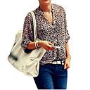 Dámské Leopard Sexy / Vintage Košile-Všechna období Polyester Do V Tříčtvrteční rukáv Tenké