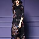 女性 ヴィンテージ カジュアル/普段着 / プラスサイズ ルーズ ドレス,フラワー スタンド ミディ 七部袖 ブラック シルク 春 ミッドライズ マイクロエラスティック
