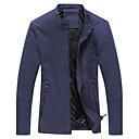 男性用 プレイン カジュアル ジャケット,長袖,コットン,ブラック / ブルー