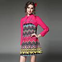 aofuli ženy oděvy šaty etnický vintage módu korálek falbala patchwork geometrický tiskový dlouhý rukáv šaty