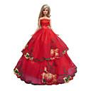 プリンセスライン ドレス ために バービー人形 レッド ドレス のために 女の子の 人形玩具