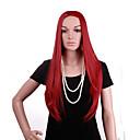 luonnollinen pitkä pituus punainen väri suosittu suora synteettinen peruukki nainen