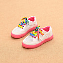 Girls' Shoes Casual Leatherette Sneakers / Flats Spring / Fall Comfort / Round Toe Low Heel Lace-up Green / Red