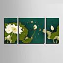 Módní a moderní Květiny Nástěnné hodiny,Obdélníkový Plátno 30 x 60cm(20inchx20inch)x2pcs+ 60 x 60cm(24inchx24inch)x1pcs Vevnitř Hodiny