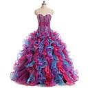 Formální večer Šaty Plesové šaty Srdce Na zem Organza s Nabíraná sukně