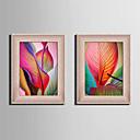 Cvjetni / Botanički Uokvireno platno / Uokvireni set Wall Art,PVC Crvena Stalak nije uključen s Frame Wall Art