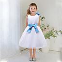 A-kroj Do koljena Haljina za djevojčicu s cvijećem - Saten / Til Bez rukava Ovalni izrez s Perlice / Mašna / Cvijeće