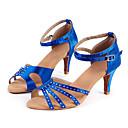 Obyčejné-Dámské-Taneční boty-Latina / Jazz / Moderní / Salsa / Swing-Satén-Nízký podpatek-Modrá