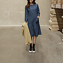 Women's Going out / Casual/Daily Simple Sheath Dress,Solid Round Neck Midi Long Sleeve Blue Cotton / Polyester Fall / Winter Mid Rise