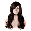 Long Wavy Style Dark Brown Color Fashion Heat Resistant Fiber Synthetic Wigs for Women