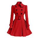 Kaput Žene,Jednostavno / Ulični šik Ležerno/za svaki dan Jednobojni-Dugih rukava Proljeće / Zima-Kragna košuljeRužičasta / Crvena /