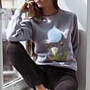 Žene Slatko Ležerno/za svaki dan Regularna Pullover,Siva Cvjetni print Okrugli izrez Dugih rukava Poliester Jesen / Zima Srednje
