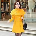 Dámské Jednobarevné Běžné/Denní Vintage Kabát-Vlna Zima Do V Dlouhý rukáv Červená / Žlutá