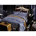 純色 布団カバーセット 4個 ポリ/コットン ラグジュアリー ジャカード織 ポリ/コットン クィーン 幅224 x 長さ234cm 1×布団カバー / 2×枕カバー / 1×フラットシーツ