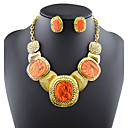 Šperky Set Křišťál Barva ozdobného kamene Prohlášení o šperky Módní Oranžová Šedá Kávová Červená Svatební Párty Denní Ležérní 1Nastavte1