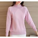 Dámské Jednoduché Běžné/Denní Standardní Kardigan Jednobarevné,Růžová / Bílá Dlouhý rukáv Kulatý Akryl Zima Střední Lehce elastické